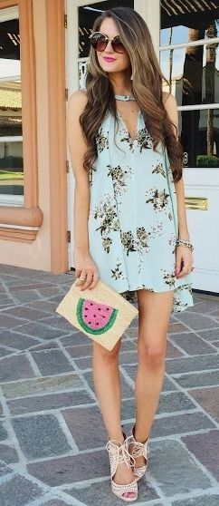 Free People dress, watermelon clutch, Jeffrey Campbell heels, Spitfire sunglasses   Southern Curls & Pearls: Long Overdue Instagram Roundup #free