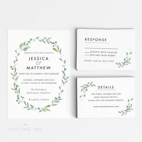Digital Printable Modern Botanical Wedding Invitation Set - Printable Wedding…