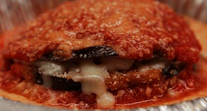 Eggplant Parmesan  Recipe from: Papa Perrone's Truck  It's a family affair at Papa Perrone's in New York, where the owner has brought his mama's traditional Sicilian recipes to the street.