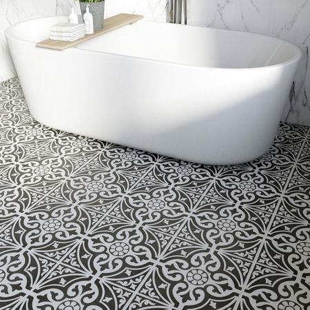 British Ceramic Tile Victoriana Feature Black Matt Tile 331mm X 331mm Part 96