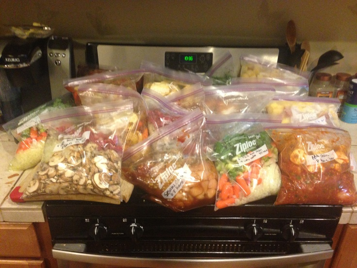 18 crock pot ready freezer bags, 8 different recipes, all prepared at once.  Inspired by : http://lovingmynest.com/learning-activities/cooking/freezer-crock-pot-recipes/