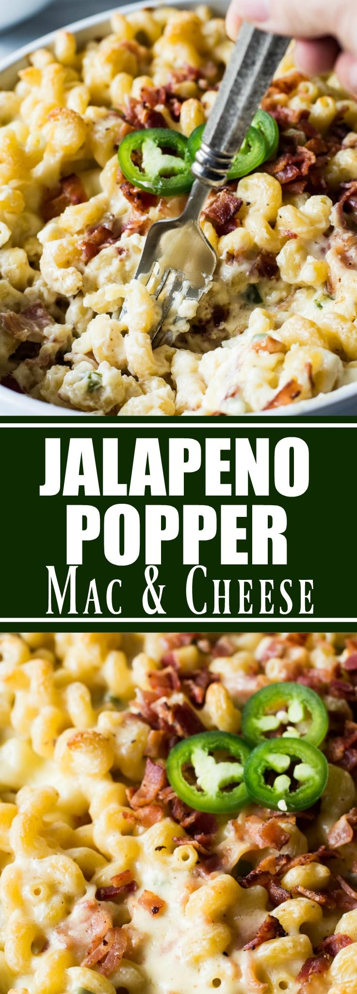 Jalapeno Popper Macaroni and Cheese! This macaroni and cheese tastes just like a jalapeño popper!! Loaded up with fresh jalapeño. Bits of crispy bacon. And the homemade sauce is made ultra creamy by adding cream cheese! You will never want another macaroni and cheese again once you try this one!