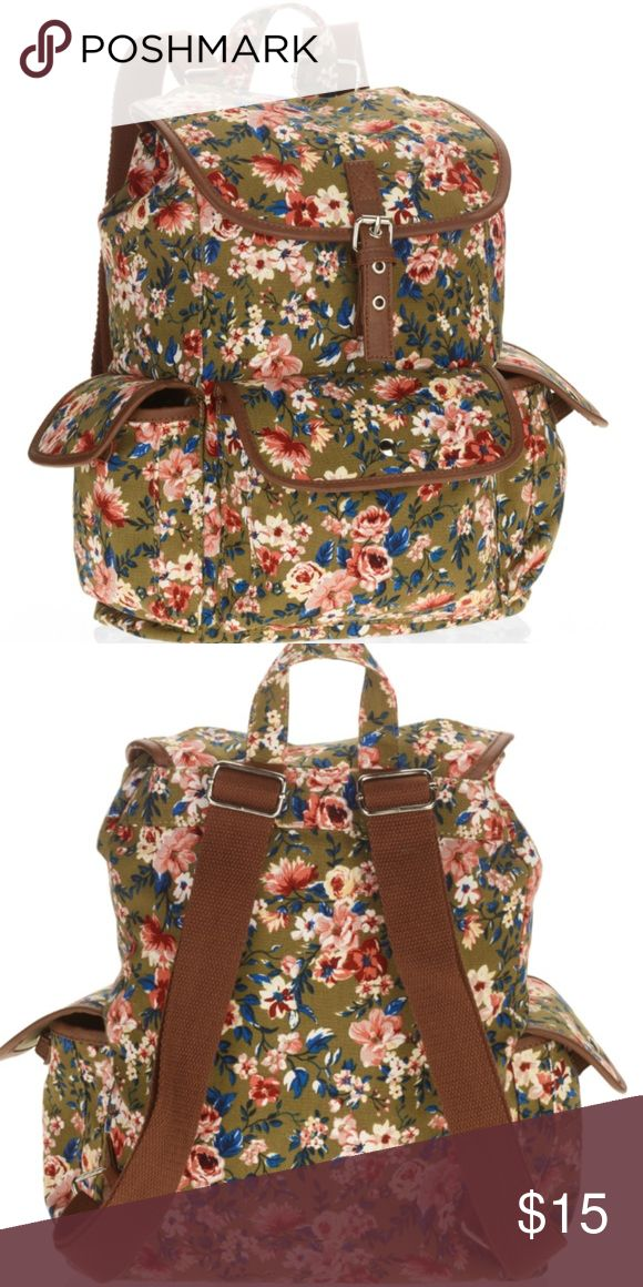 Beautiful floral backpack Olive green with flowers printed all over has brown leather buckle Bags Backpacks