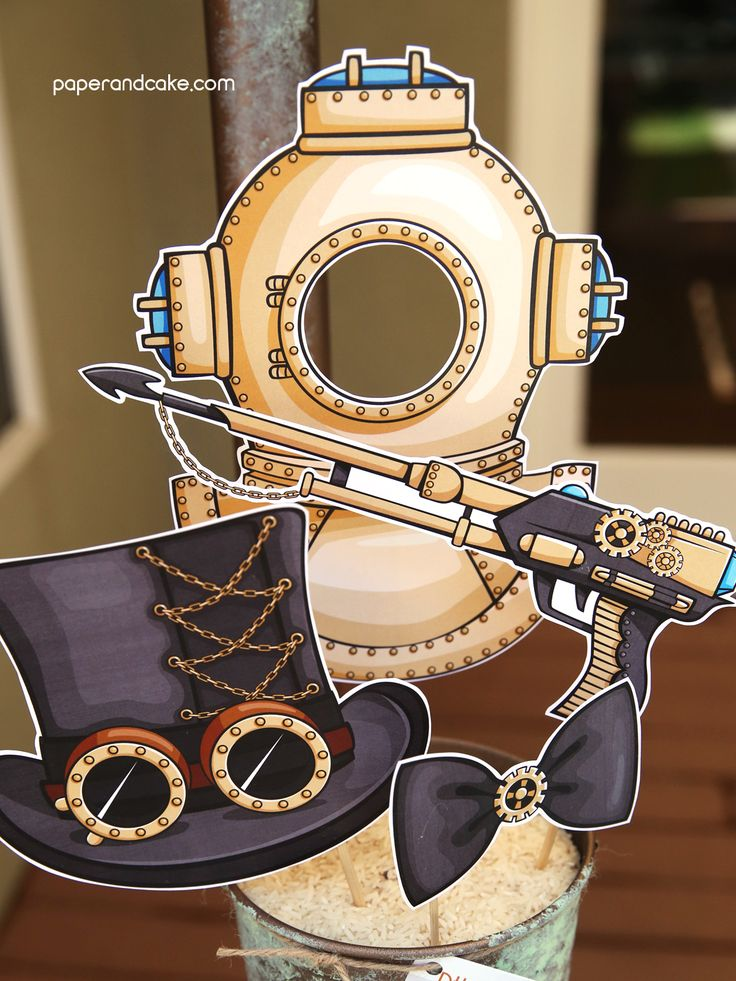Marine Steampunk Printable Photo Booth Props