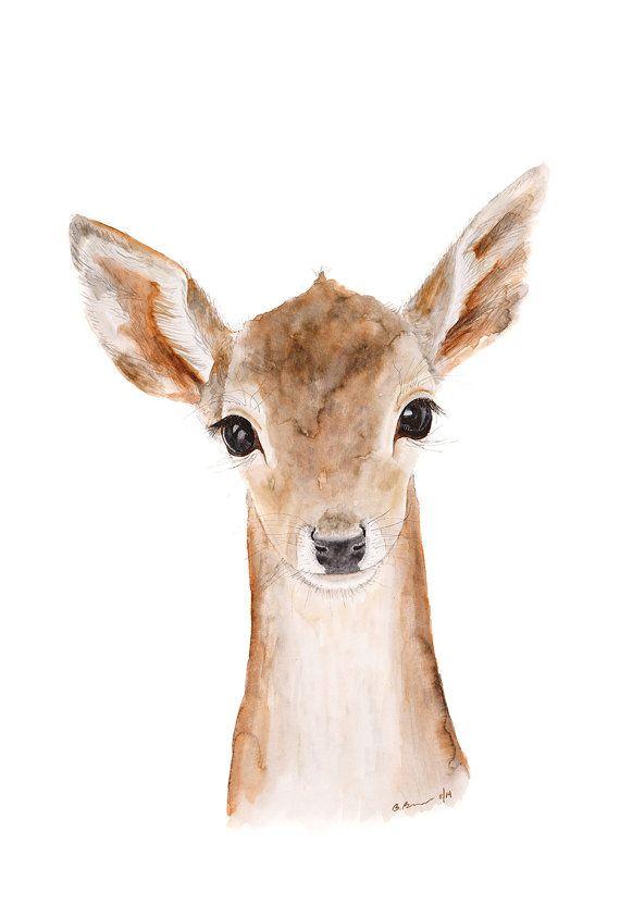 Deer Art, Baby Deer, Deer Painting, Fawn, Deer Watercolor, Nursery Art, Animal Art, Wildlife Print, Animal Portrait, Woodland - 11x14    This Deer