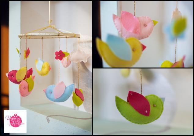 """Мобиль в детскую кроватку """"Птички"""" - Ярмарка Мастеров - ручная работа, handmade"""