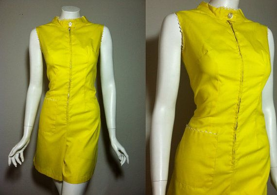 Vintage Rare 1950s 1960s Sunny Yellow Zip Up One by HoiPolloipj