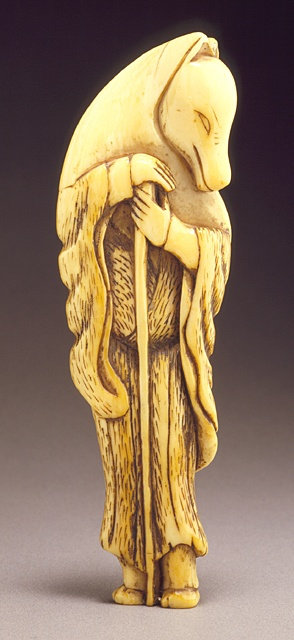 Japan  Fox Disguised as Priest, 18th century  Netsuke, Ivory with staining, sumi