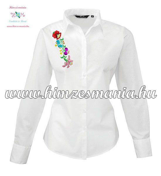 Fehér kalocsai hímzett női ing ▶️ http://himzesmania.hu/Kalocsai-noi-ing-hosszu-ujju-gepi-himzes-feher