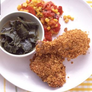 Cornflake-Crusted Baked Chicken--crispy on the outside & stays juicy on the inside. Less than an hour from start to finish.