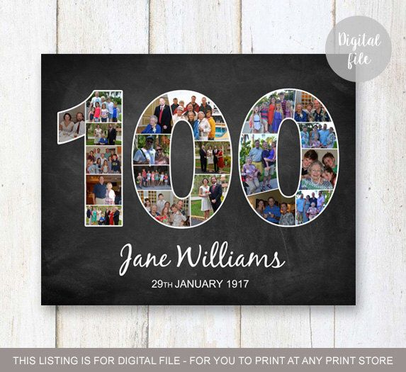 Photo Collage 100th birthday gift - 1917 Personalized Birthday Gifts For Nanny  Grandma - Great grandmother chalkboard sign - DIGITAL FILE by LillyLaManch on Etsy https://www.etsy.com/listing/500848069/photo-collage-100th-birthday-gift-1917