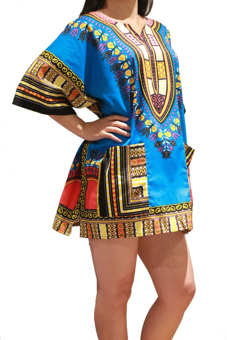 Traditional African Dashiki Shirt Dress Unisex for Men or Women - Blue - Free Size