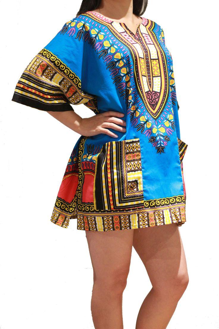 Traditional African Dashiki Shirt Dress Unisex for Men or Women - Blue - Free Size