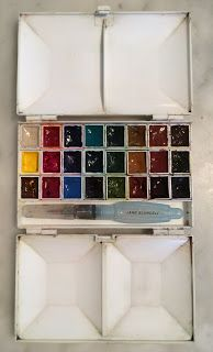 Jane Blundell: Watercolour and gouache choices - some of my palet...
