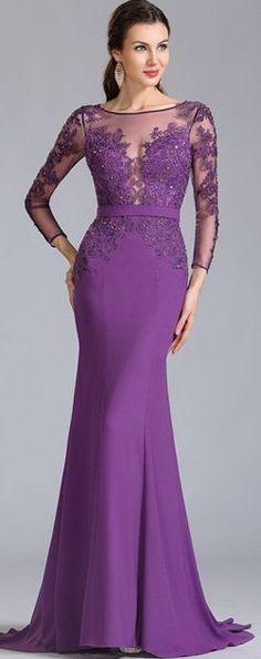 Long Sleeves Applique Purple Evening Dress