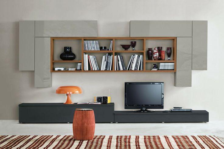 Parete Attrezzata moderna dal design minimalista 548 - finiture noce canaletto, laccato lucido grigio piombo e pioggia | Napol.it