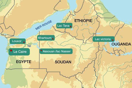 Le Nil 6 500 km. Remontez vers la source ...  Depuis Alexandrie en passant par le plateau de Gizeh, Le Caire, Louxor (Karnac), la vallée des rois, le temple d'Edfou, Philaé, Abou Simbel, Assouan, lac Nasser (frontière Egypte - Soudan), La Nubie et Meroe (6e catacracte), Musawwarat Es Sofra, Khartoum VERS les chutes du Nil bleu, Bahir Dar (NO Ethiopie) et le lac Tana OU le Nil Blanc, Chutes de Murchison (Ouganda) et les chutes Bujagali et le lac Victoria sa source