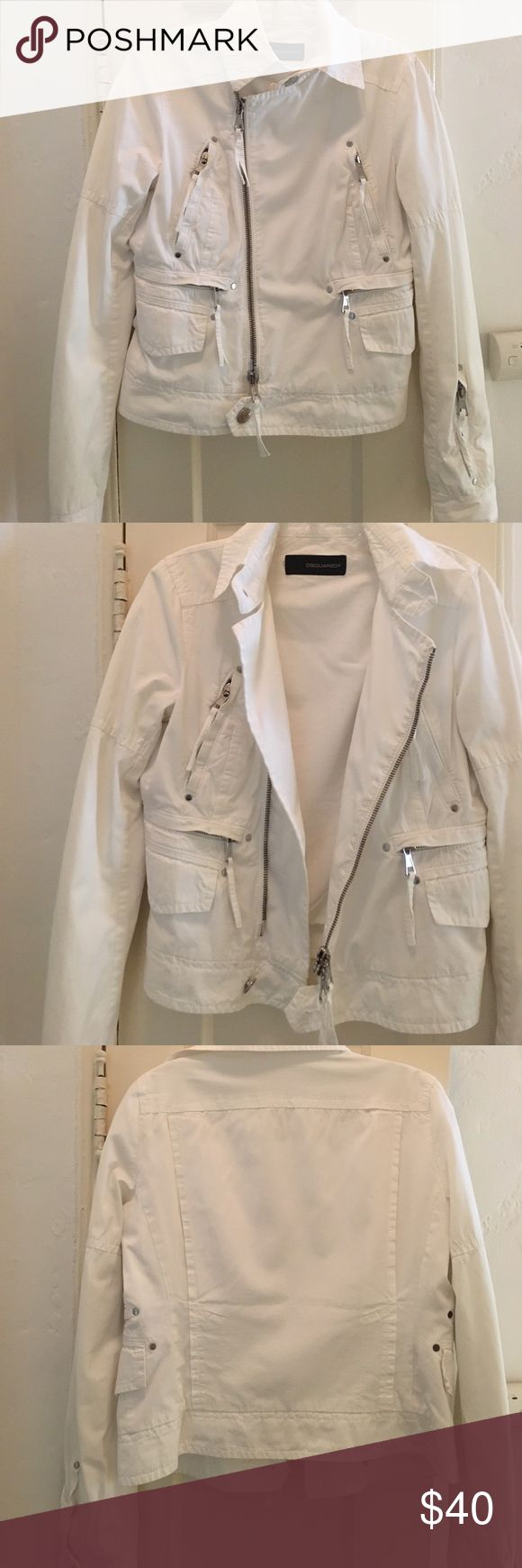 DSQUARED2 white cotton moto style jacket Tough moto jacket style in crisp white cotton makes dressing cool in summer easy. Hardware logo, functional pockets and matching white lining. Good used condition. DSQUARED Jackets & Coats