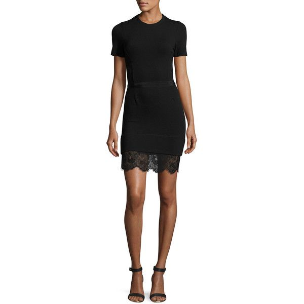 Carven Short-Sleeve Ponte Lace-Trim Sheath Dress (443,435 KRW) ❤ liked on Polyvore featuring dresses, black, lace sheath dress, lace dress, sheath dress, mini dress and short lace dress