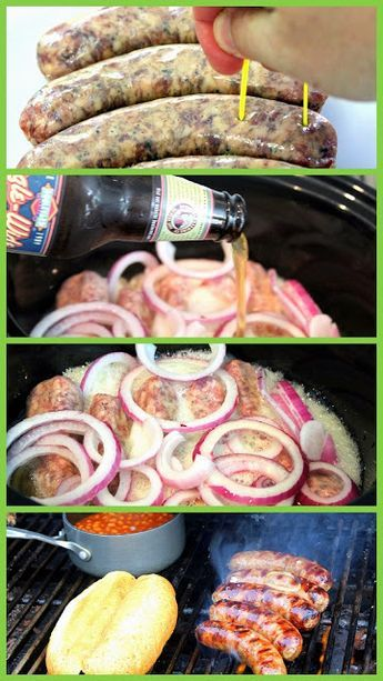 Beer Braised Grilled Brats - Grilling Time... Brats may be the easiest thing to make on a grill... Heat and eat. BUT THERE ARE WAYS TO MAKE THEM BETTER... Like slow heating them in BEER (infusing flavor... And Cache' Value among the guys). It is easy, dramatic tasting and with just a couple of hints and tricks you can be the KING OF THE NEIGHBORHOOD BBQ!