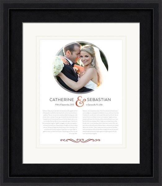 circle wedding photo art print customized with the couples names vows and framed