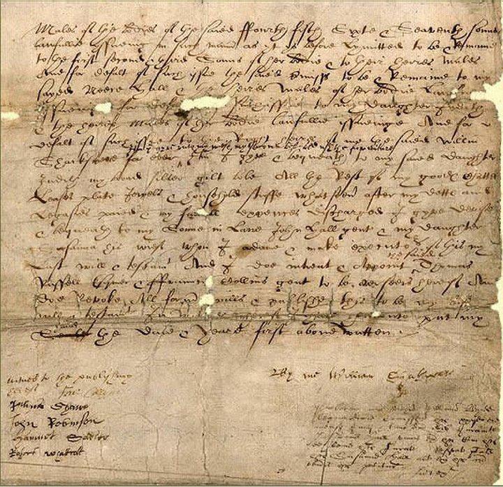 Il testamento olografo di William Shakespeare (1616)