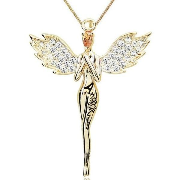 News Gold Plated Zircon Crystal Design Angel Wings Necklaces Pendants Fashion