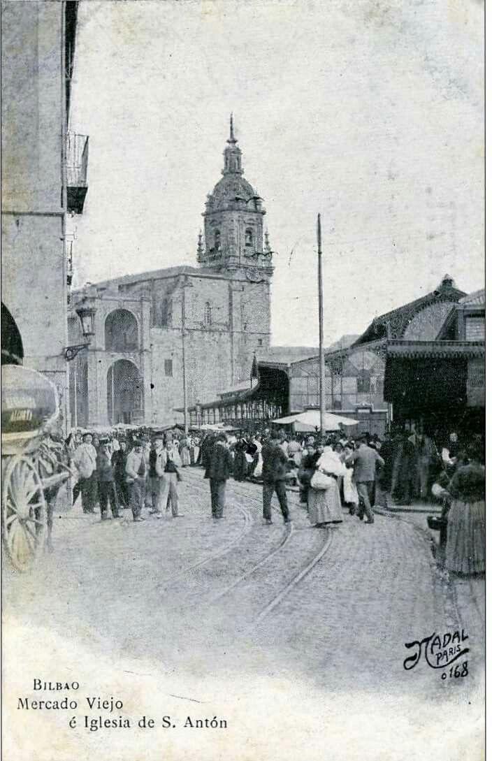 Bilbao, Mercado antiguo junto a la iglesia de San Antón, Casco viejo.