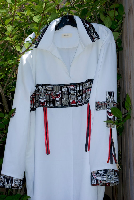 Totem Pole Native American Style Ribbon Shirt by FeralFawn on Etsy, $80.00
