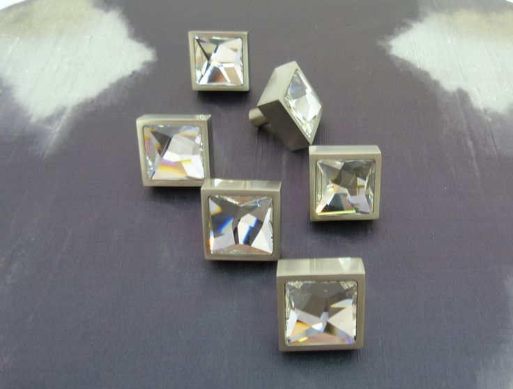 Square cabinet handles with SWAROVSKI clear mirrored crystal insterts