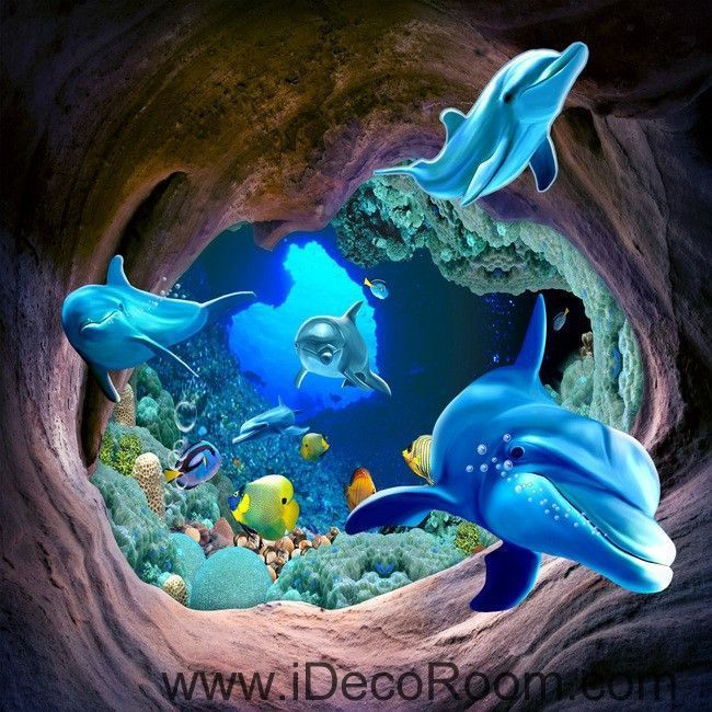 Dophins Swimming In Hole Fish Sea 00032 Floor Decals 3d Wallpaper Wall Mural Stickers Print Art Bathroom Decor Li Wandtapete 3d Hintergrundbilder Wandbild Wand