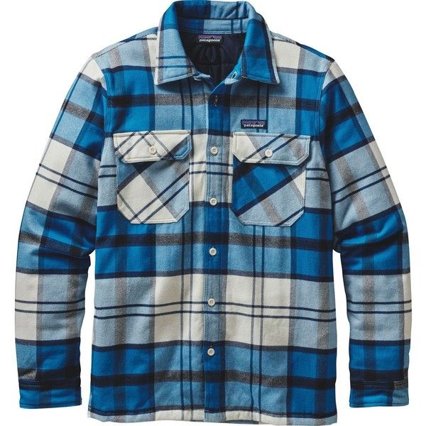 Patagonia Insulated Fjord Flannel Jacket ($169) ❤ liked on Polyvore featuring men's fashion, men's clothing, men's outerwear, men's jackets, patagonia mens jacket, mens jackets, mens insulated flannel jacket and mens insulated jackets