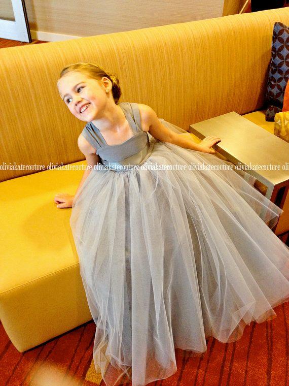 Gray+Silver+Flower+Girl+Dress+Floor+Length+by+OliviaKateCouture