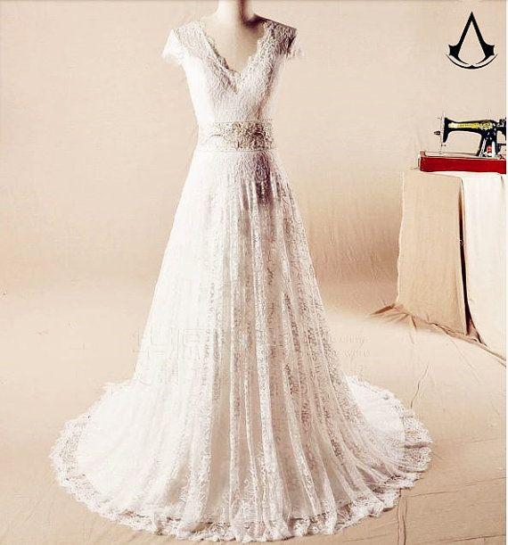 wedding dresses/a line wedding dresses/empire waist wedding dresses/plus size wedding dresses/lace wedding dresses+BV/w38/hy
