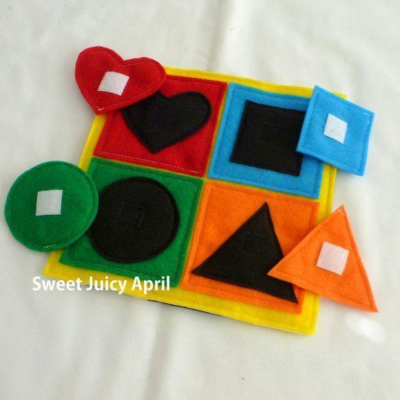 Form und Farbe passende Seite. Jede Form hat Klettverschluss auf der Rückseite,… – Dein Kleinkind fördern