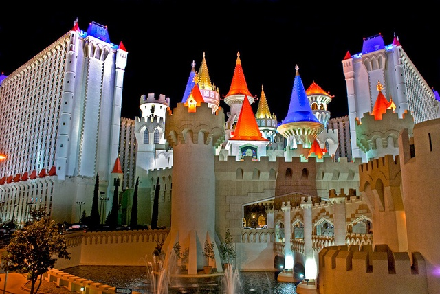 Las Vegas: Excalibur--use to have a neat show at night here where Merlin fought a Dragon in the moat around the castle! Cute show!!
