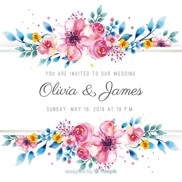 Watercolor Floral Wedding Card Template Free Vector Floral Watercolor Wedding Cards Wedding Card Templates