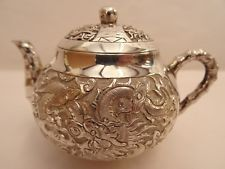 Modern Reproduction::::Chinese Export Sterling Silver Miniature Dragon Teapot 169.1 grams - Perfect