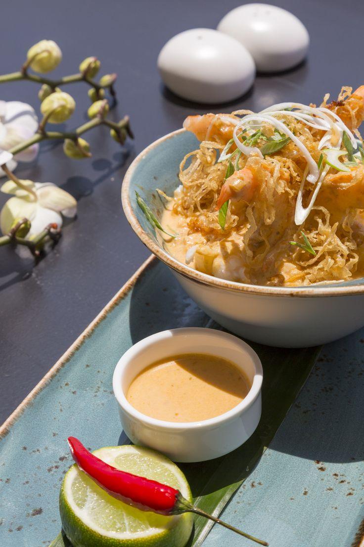 Thai red curry shrimp with lemongrass rice.