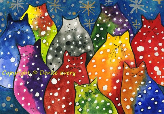 Very Colorful PolkaDot Kitties Stars Whimsical by #DeniseEvery #cats #CatArt as I SO LOVE POLKA DOTS:)