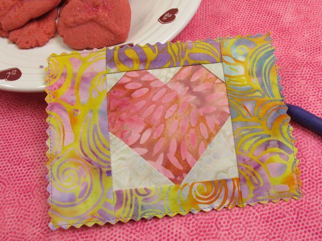 Nancy Zieman BLog: A tutorial on how to sew a paper-pieced valentine postcard. Free pattern download.