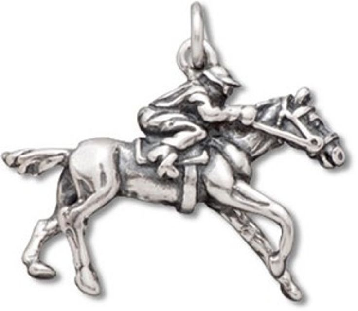 """Sterling Silver Womens 30"""" 1mm Box Chain 3D Race Horse Jockey Animal Pendant Necklace. 925 Sterling Silver Jewelry."""