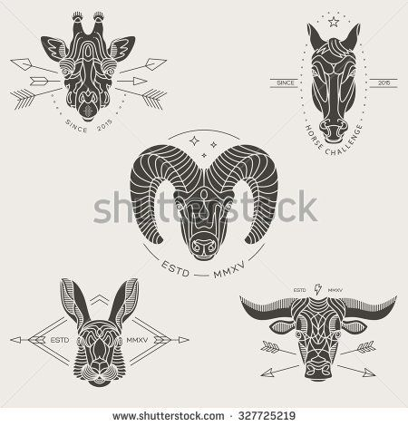 Set of vintage thin line animal labels & badges. Retro vector design graphic element, emblem, logo, insignia, sign, identity, logotype, poster. Stroke line objects with typographic for t-shirt prints.