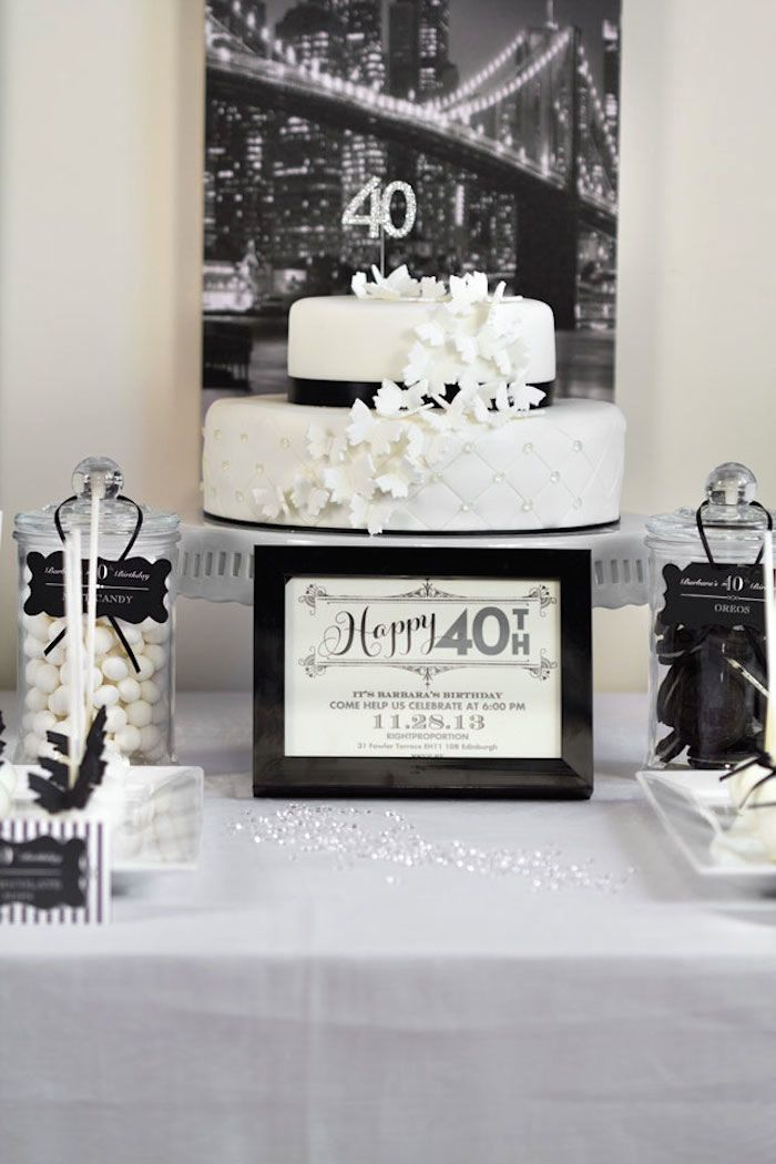 Stylish Black and White 40th Birthday Party with Such Great Ideas via Kara's Party Ideas