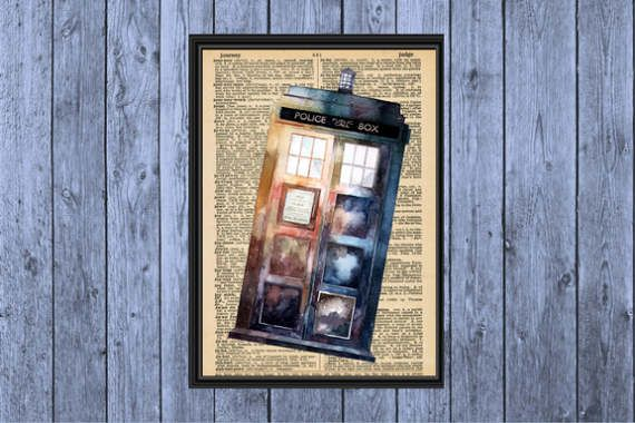 Dicitonary Page Art INSTANT DOWNLOAD | Tardis | Art Print | Doctor Who | Wall Decor | Digital Download | Wall Art | Doctor Who Print