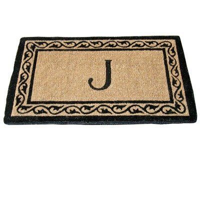 """Creel Ivy Border Monogram Coco Doormat Size: 24"""" x 39"""" by Geo Crafts, Inc. $39.69. G134+-39 Size: 24"""" x 39"""" Features: -Technique: Woven / Printed.-Material: Natural coir.-Origin: India.-Elegent looking and functional.-Fully bio-degradeable and earth friendly.-Absorbs moisture, resists mildew.-Scrubs clean dirt, slush, mud and hides. Construction: -Construction: Handmade. Dimensions: -Pile height: 1"""". Collection: -Collection: Monogram Mat."""