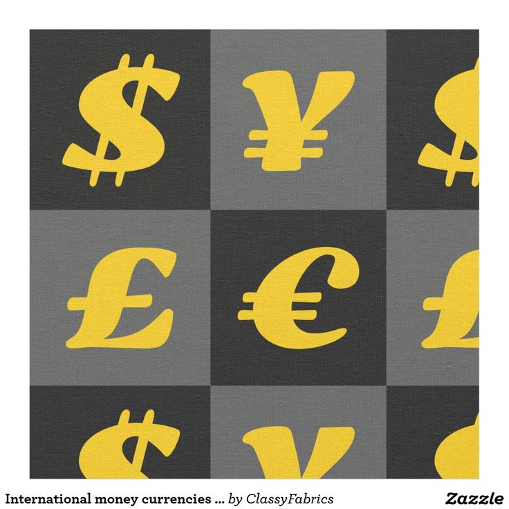 International money currencies signs pattern fabric