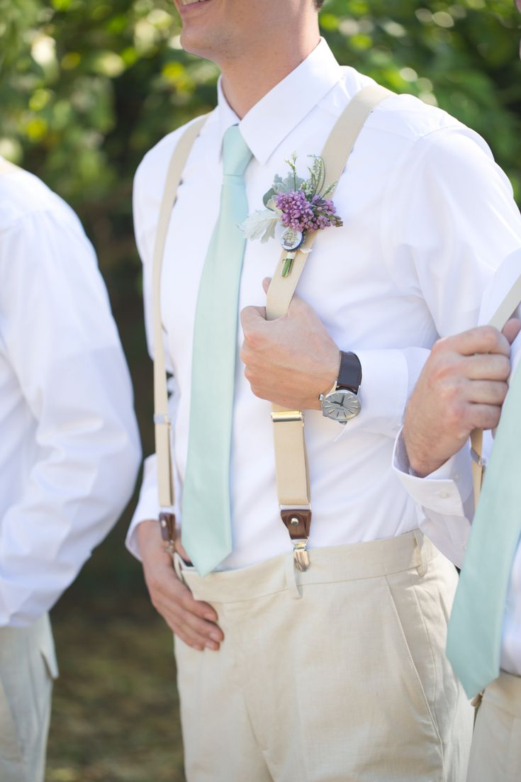 A perfect mint green & lavender  backyard wedding at the historic Hearn House. Guys wore cream colored slacks, mint green ties, white shirts sport pin boutonnieres and suspenders.