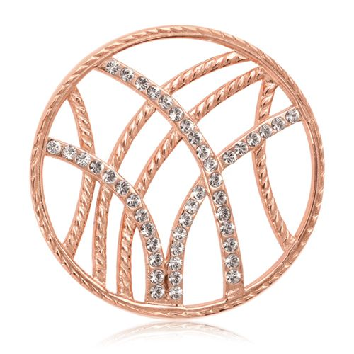 Nikki Lissoni Rose-tone 33mm Clear Swarovski® Rebellious Stripes Coin