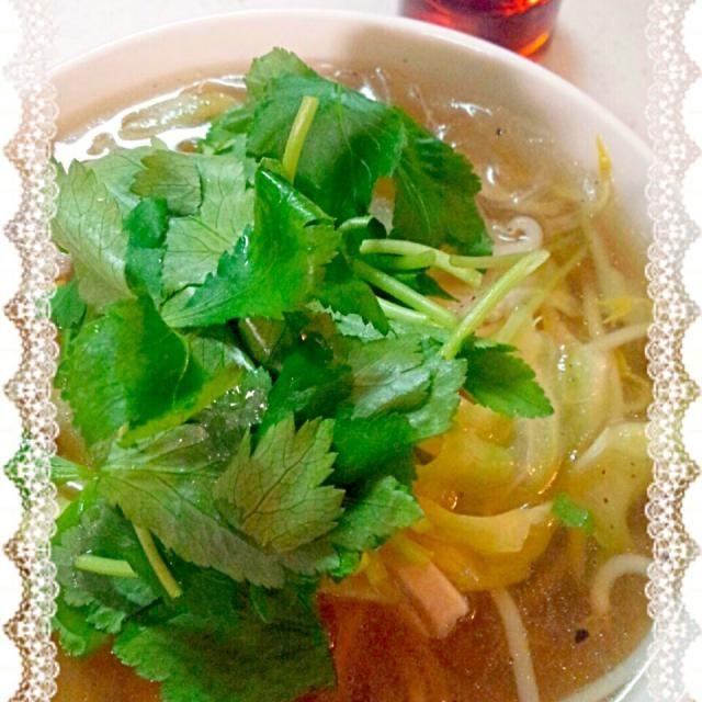 キャベツ、椎茸、もやし、春雨をヒガシマルうどんスープで煮込みナンプラー。鶏ガラスープがきれてたので。三ツ葉どっさり! - 120件のもぐもぐ - 春雨でなんちゃってフォー  by haruran200238